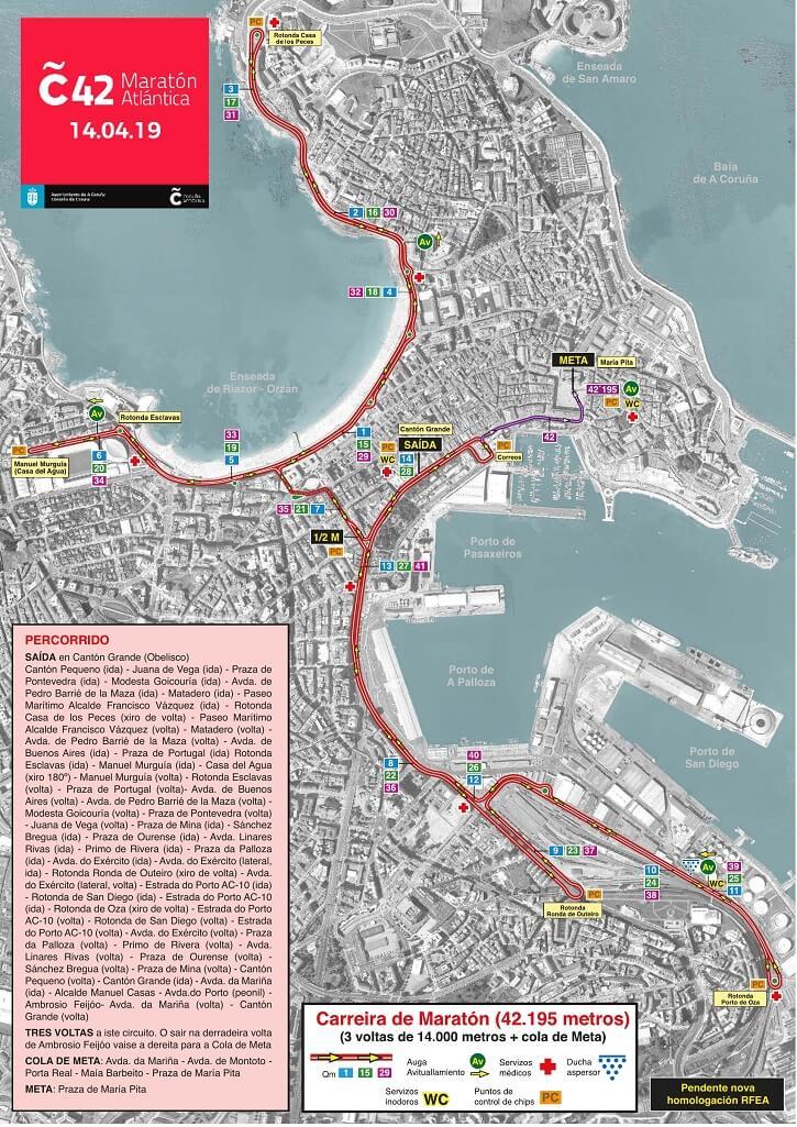 recorrido maratón coruña 42