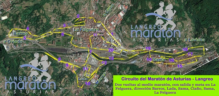 recorrido maratón de Langreo Asturias 2019