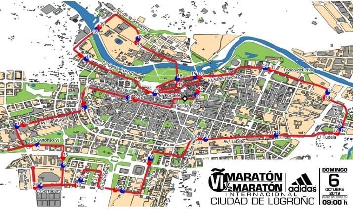 recorrido maratón ciudad de logroño 2019