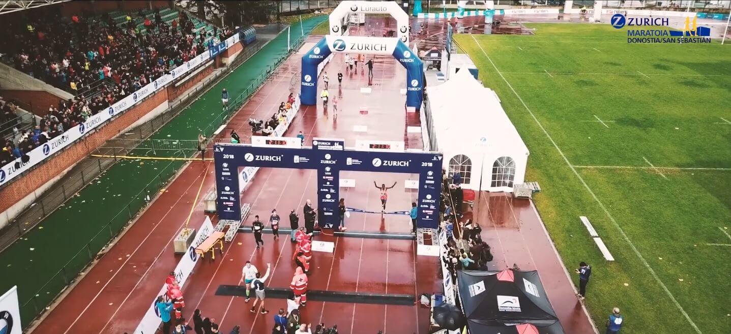 entrada en meta del ganador del maratón de Donostia - San Sebastián