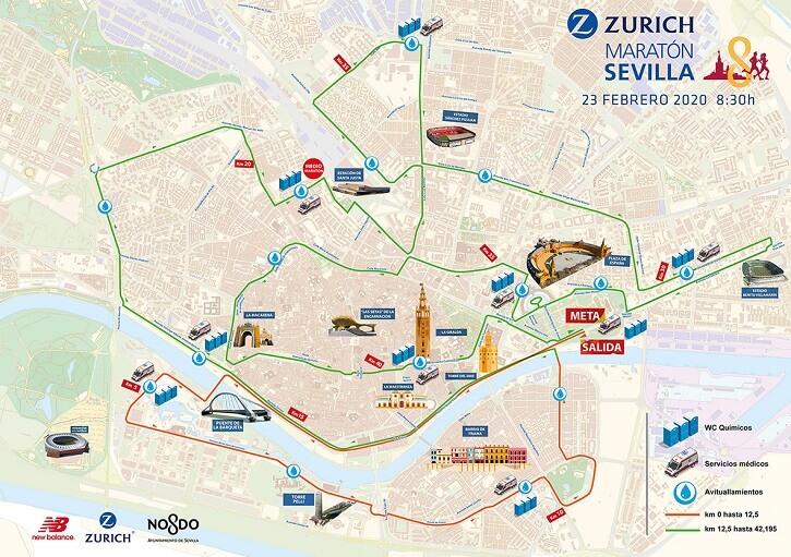 recorrido maratón sevilla 2020