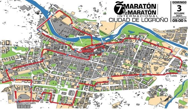 recorrido del Maratón de Logroño 2021
